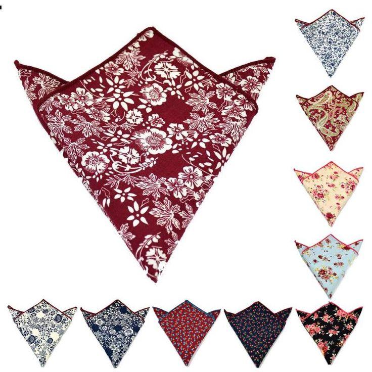 Casual Men's Handkerchief for Wedding Business Cotton Polka Dot Chest Towel Floral Pocket Square Male Handkerchief Towels L50