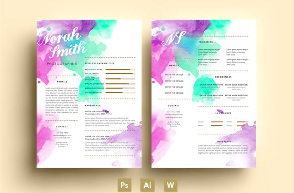 Puprle/Green/Watercolour/CV/PSD by Emily's ART Boutique  on Creative Market