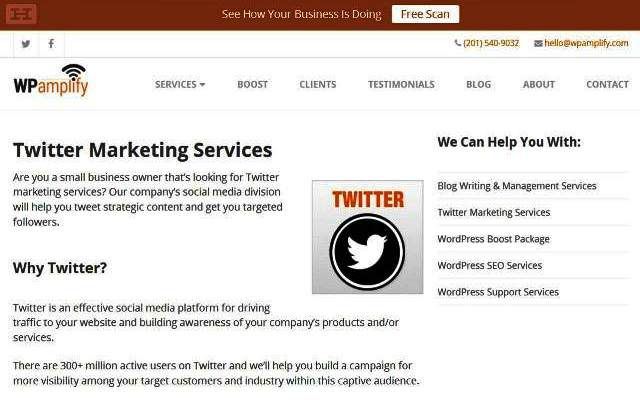 https://www.wpamplify.com/twitter-marketing/ | WPamplify Helps Small Businesses Generate More Leads - WPamplify offers a full range of marketing services to help small businesses generate more leads. Services include SEO, social media marketing, Twitter management, blogging, and WordPress support. Small businesses discover how to meet or exceed their goals for success. WPamplify 5 Jefferson Pl, Montvale, NJ 07645, (201) 540-9032