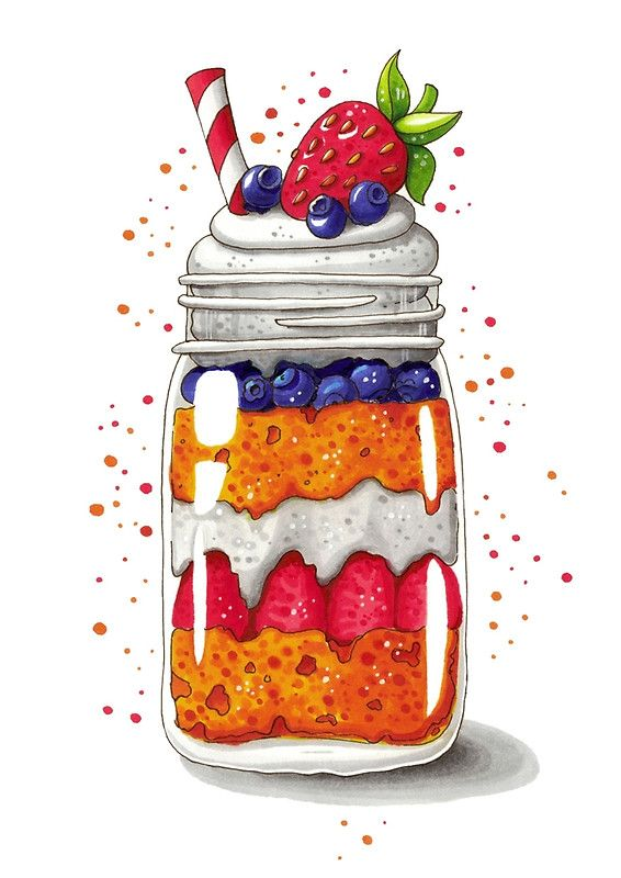 Strawberry and Blueberry shortcake in a jar