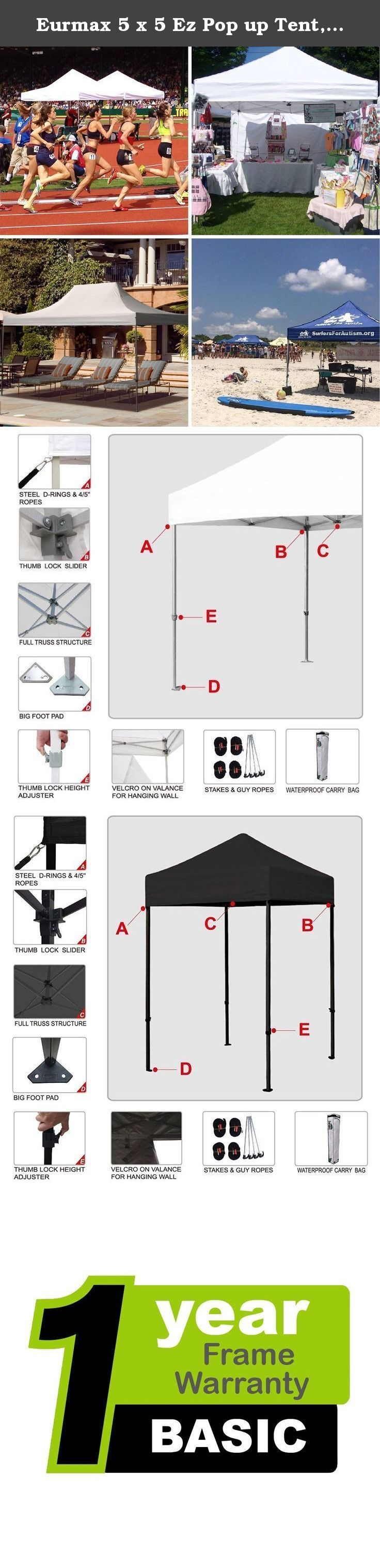 Eurmax 5 x 5 Ez Pop up Tent, Outdoor Patio Instant Canopy, with Deluxe Carry bag (Black). Whether you're camping, dining in the backyard, or hosting a wedding reception, the Strong Eurmax easy pop up tents makes an ideal companion!.