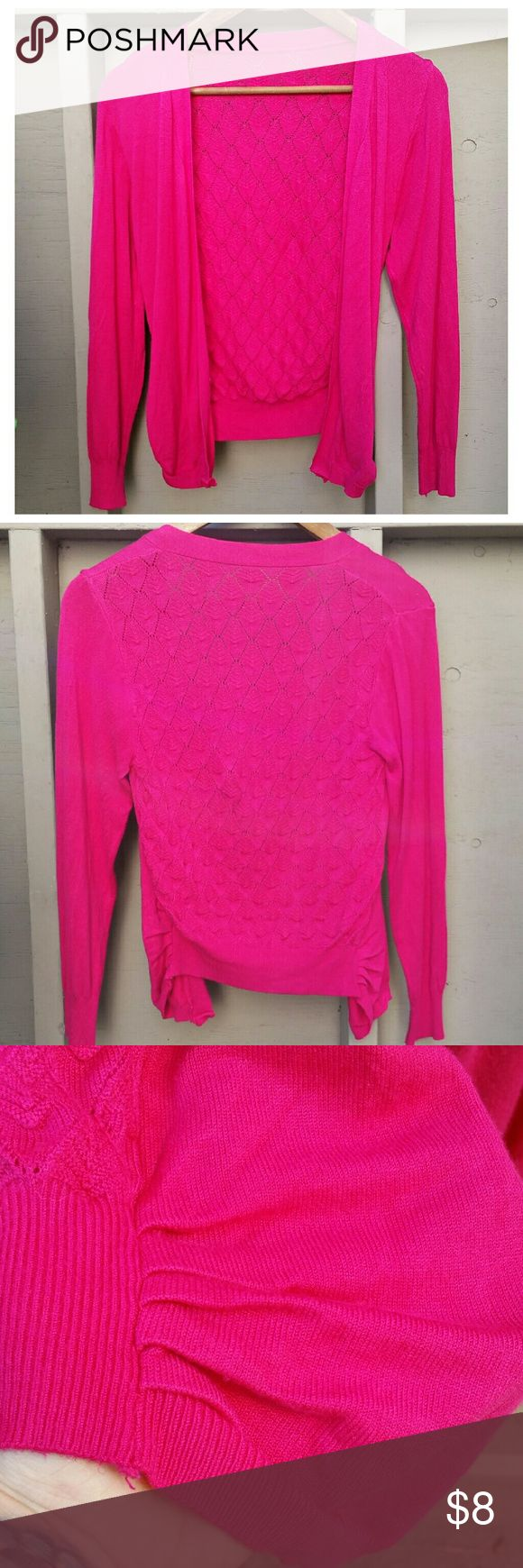 Ruched Sides Pink Cami Long Sleeve Pink Cami Only worn a couple times.  Ruched sides with lattice pattern on back <3 Perfect condition  Boutique, no specific brand Tops Camisoles