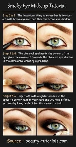 Smokey eye tutorial makeup eye shadow brown. by margarett