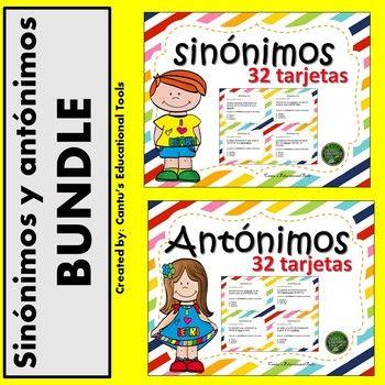 Sinonimos y antonimos BUNDLE: Este bundle consiste de los siguientes productos. Sinonimos: Este producto consiste de 32 tarjetas de opcion multiple. El estudiante leera una oracion en la cual habra una palabra subrayada y decidira a cual de las respuestas es un sinonimo para esa palabra.