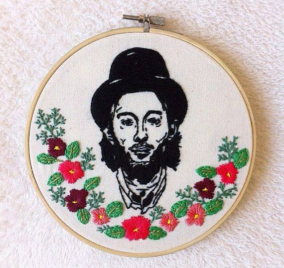 Thom Yorke wall decor/Thom Yorke embroidery hoop art/Radiohead