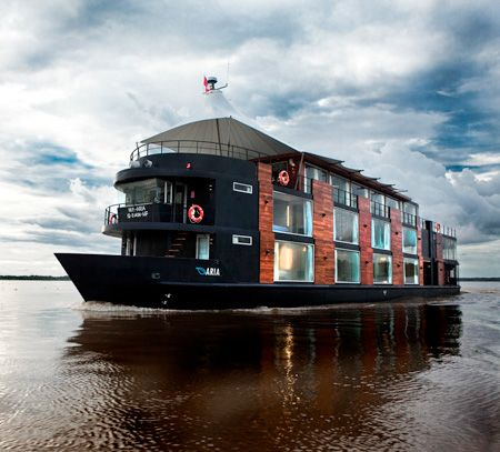 Luxury cruise built as a floating  hotel. It sails on the Amazon River in Peru. Really nice