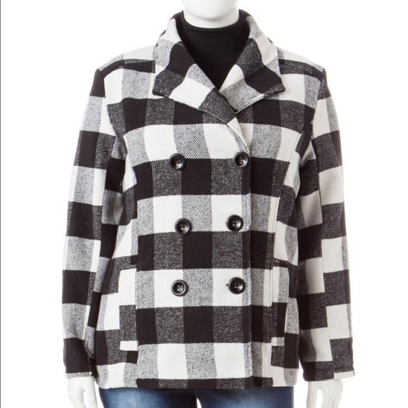 Black and white plaid peacoat. NWT juniors plus size peacoat. Fits true to size. Rampage Jackets & Coats Pea Coats