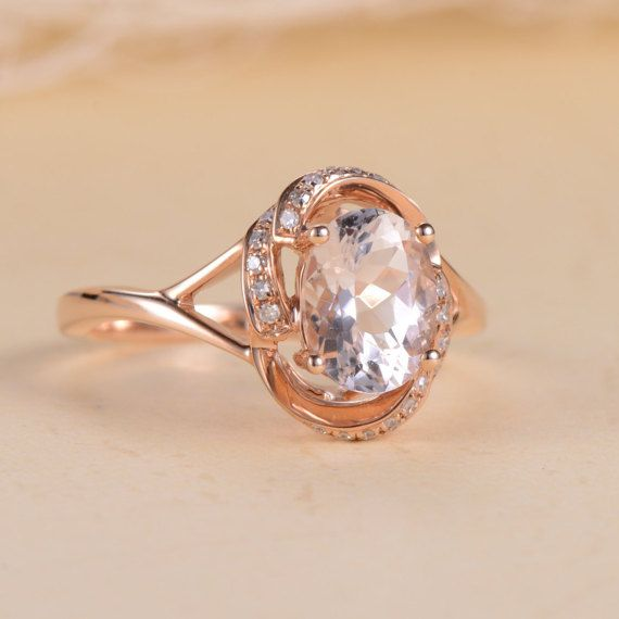 Morganite Engagement Ring Oval Cut Morganite by LoveRingsDesign