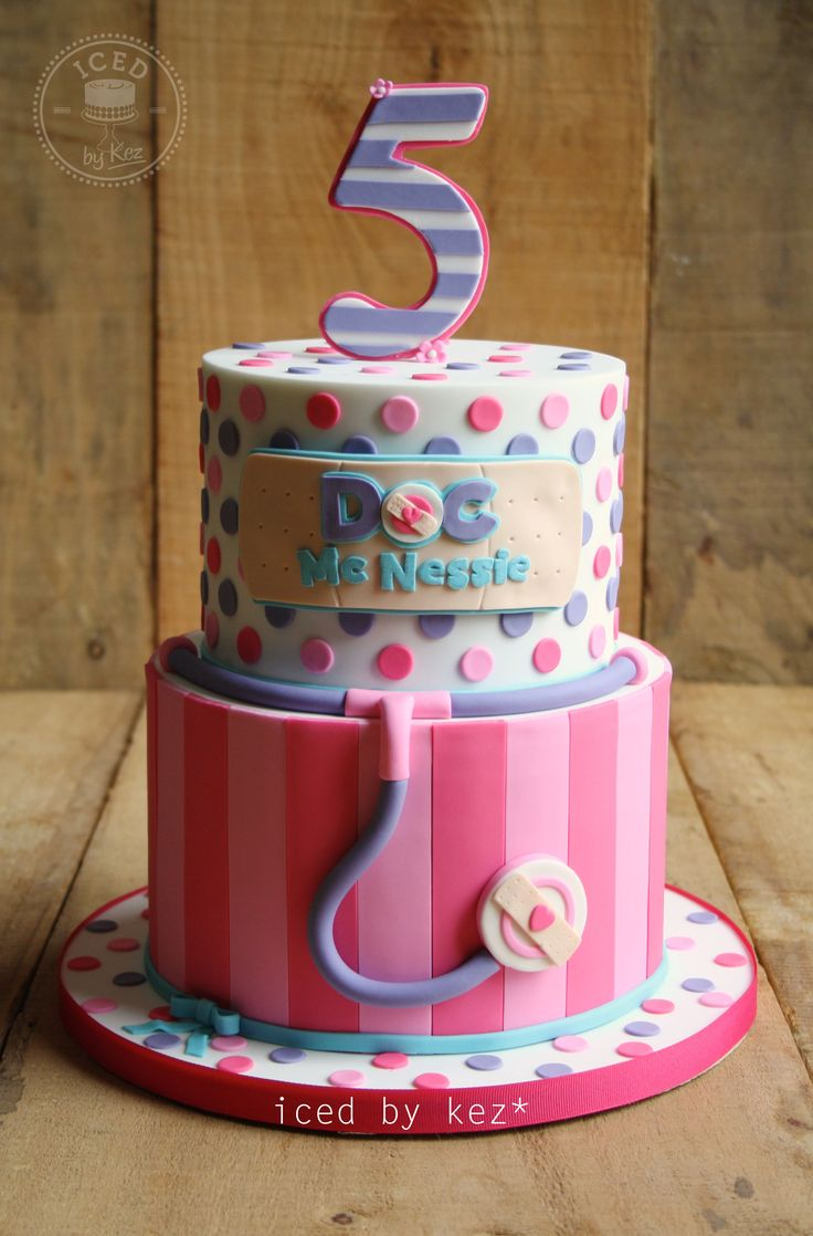 Doc McStuffins Themed Cake - for a 5th Birthday - iced by kez #docmcstuffins #5thbirthday