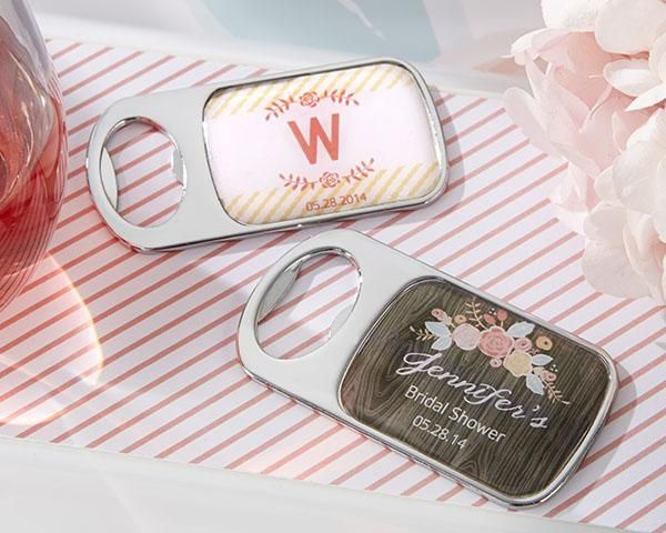 Personalized Bottle Opener with Epoxy Dome - Kate's Rustic Bridal Shower Collection