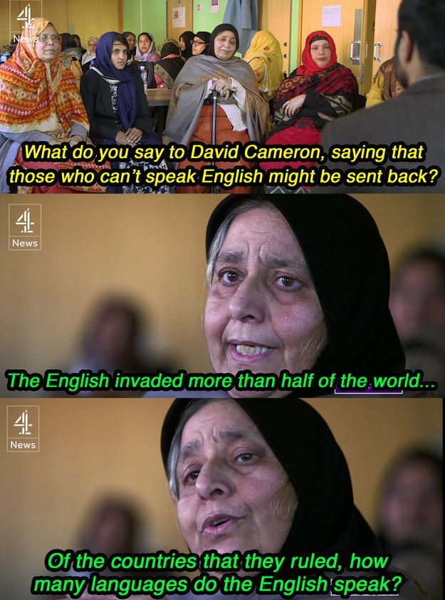 While the group was divided on learning English being made mandatory, one Pakistani woman, Parveen Sadiq, had this to say. | This Woman Had The Ultimate Clapback For David Cameron's Comments About Muslim Women