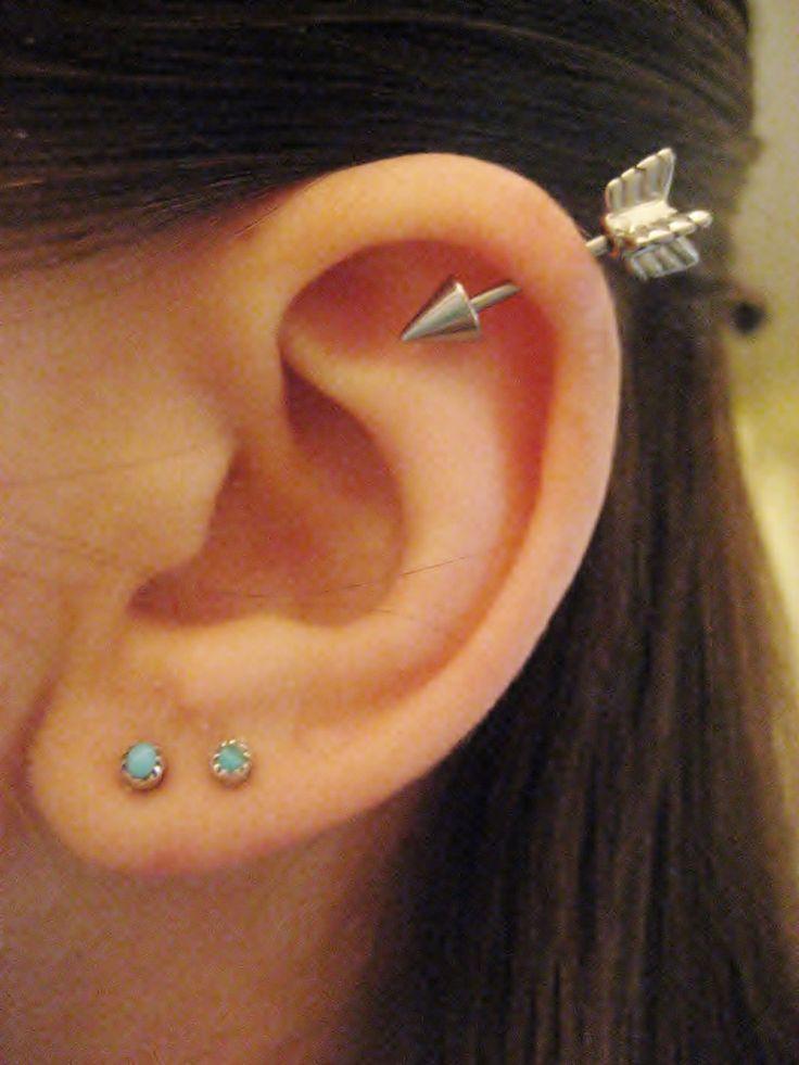 16 Gauge Arrow Helix Piercing Earring Stud Post Arrowhead