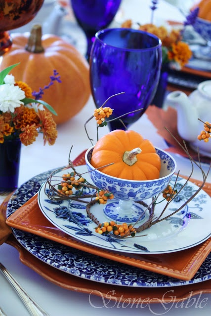 Great idea on how to decorate Blue Willow for fall! The blue and orange is stunning!