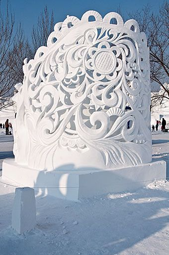 Back of beautiful ornate snow sculpture by Russian team in Harbin Snow