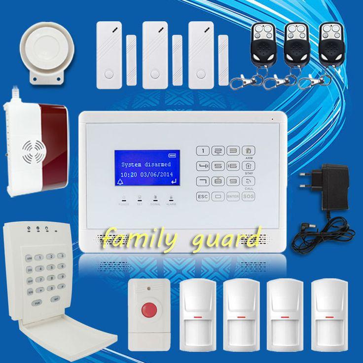 DHL Free Shipping!M2BX Wireless GSM SMS Home House Alarm System Menu display+Gas Sensor+Password Keypad+Panic Button+PIR Motion