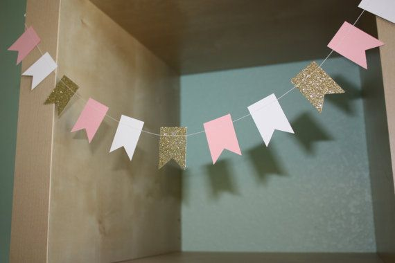 Pink, Gold and White Fancy Paper Garland on Etsy, $10.50
