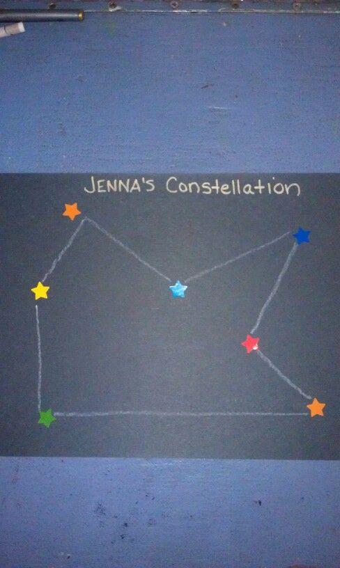 Preschool construction paper sticker constellation space art