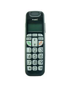 """Estás revisando:Teléfono fijo inalámbrico fysic Fx6200 Negro  - Teléfono inalámbrico con teclas muy grandes que avisa visualmente cuando recibe una llamada.  - Botones y pantalla retroiluminados  - Volumen muy alto para ayudar a personas con dificultad de escucha.  - Función de rellamada.  - Alarma con función """"snooze""""  - Manos libres.  - Agenda con una capaciad de 20 números."""