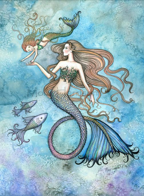 Sanctity of Motherhood Mermaid Mother and Daughter Fine Art Print by Molly Harrison via Etsy