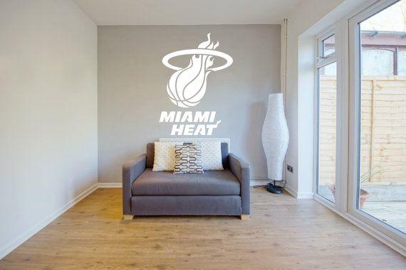 Removable Miami Heat Basketball Team Wall Art Decor Decal Vinyl Sticker Mural Sports NBA on Etsy, $28.00