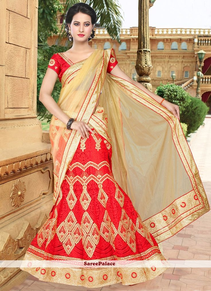 Exquisite Net Embroidered Work A Line Lehenga Choli