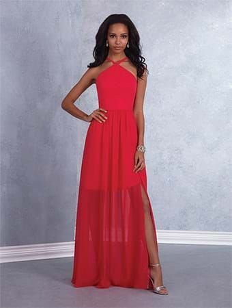 Alfred Angelo Style 7426: floor length bridesmaid dress with halter neckline and crisscross spaghetti straps