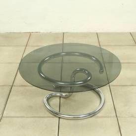 """Anaconda"""" table design Paul Tuttle.  Base en métal chromé et tableau en verre fumée. 1970's Strassle Manufacturered."""