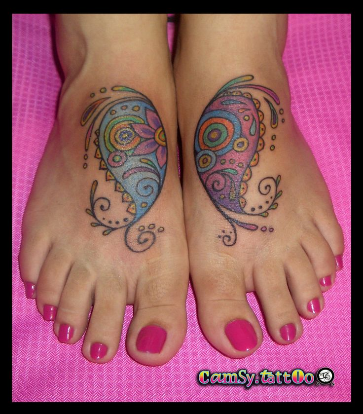 Paisley Foot Tattoo by ~camsy on deviantART  -- it has a butterfly wing effect. I like it!