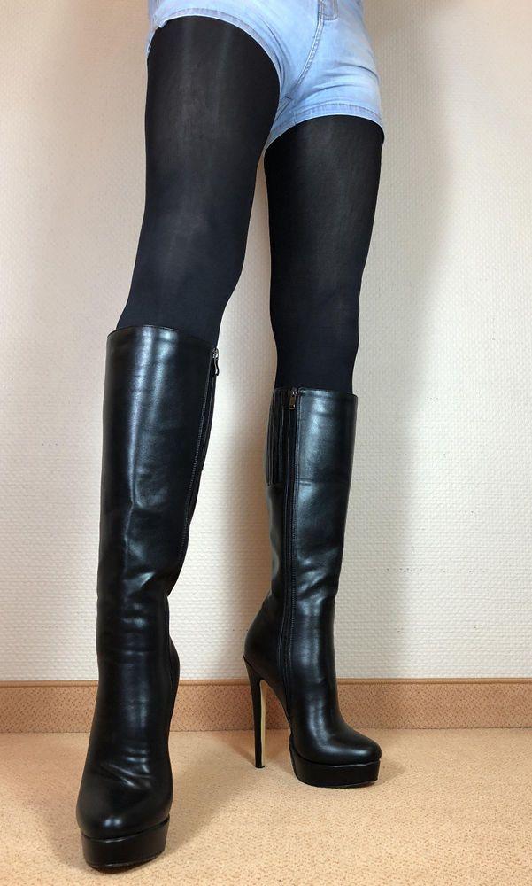 40b50a4f37 High Heels Stiletto Knie Stiefel Damen Männer Boots EU42 UK8 US11    Kleidung & Accessoires, Damenschuhe, Stiefel & Stiefeletten   eBay!