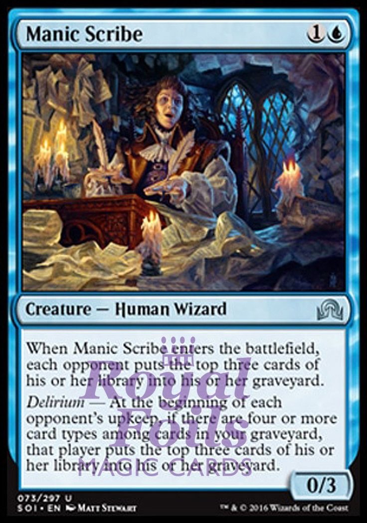 **1x FOIL Manic Scribe** SOI MTG Shadows Over Innistrad Uncommon MINT blue