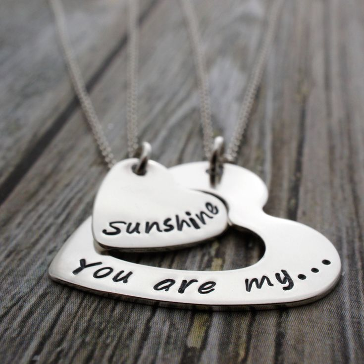 You Are My Sunshine Heart Infinity Jewelry - Personalized Mother Daughter Necklace Set in Sterling Silver by EWD - Mother's Jewelry Gift by EclecticWendyDesigns on Etsy https://www.etsy.com/listing/227445372/you-are-my-sunshine-heart-infinity
