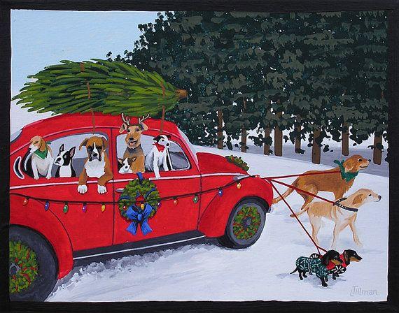 PARADE DE NOËL  Vintage rouge Volkswagen Beetle affublé pour Noël avec une meute de chiens, un Beagle, Boston Terrier, Boxer, Chihuahua, Airedale Terrier, Jack Russel Terrier, Golden Retriever, Labrador Retriever, teckels. Mid century modern amusement.  Il sagit dune édition limitée (200 exemplaires) par Linda Tillman. Cest une copie dune peinture à la gouache originale. Tous des tirages sont imprimés sur du papier mat. Ils sont imprimés avec une imprimante iX6500 Canon. Il a une bordure…