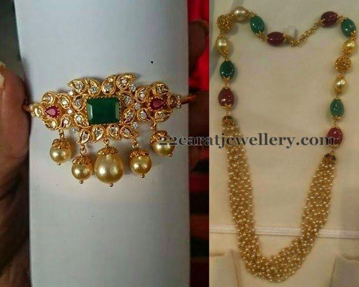 Jewellery Designs: Bajuband and Pearls Beads Chain