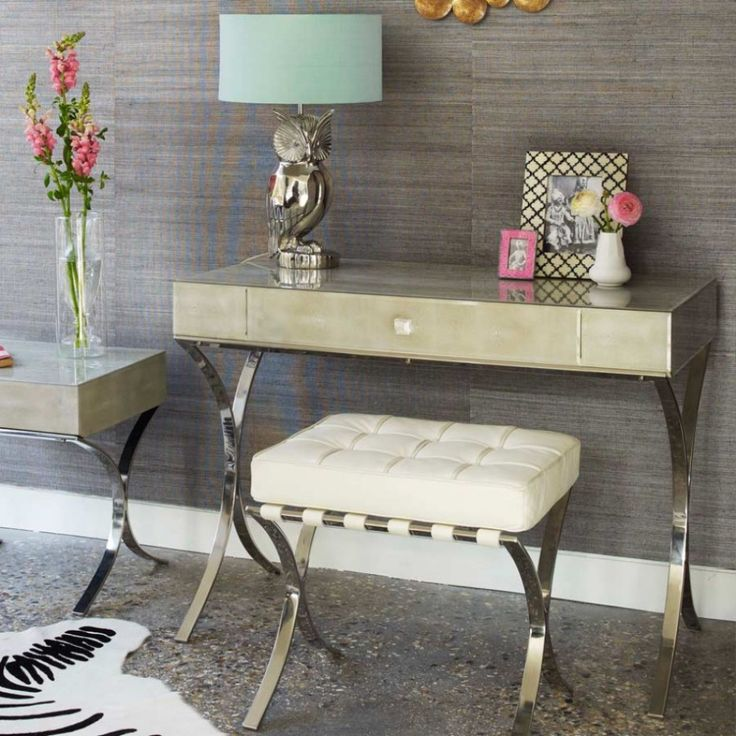 Outstanding Furniture For Girl Bedroom Decoration Using Vanity Dressing Table Lamp : Inspiring Furniture For Girl Bedroom Decoration Using Modern Cream Granite Top Makeup Table Including Turquoise Drum Vanity Dressing Table Lamp And Light Grey Bedroom Wall Paint