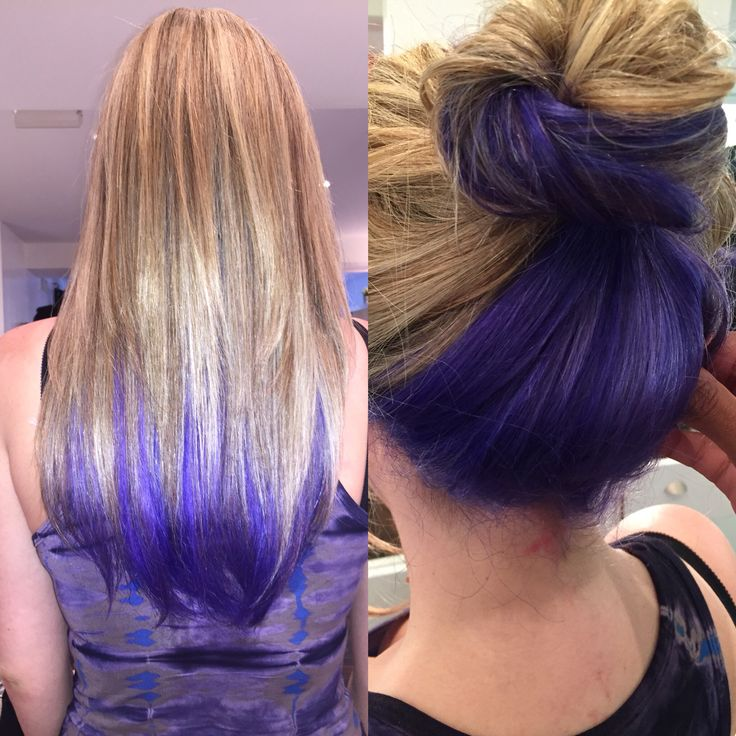 Color by Nakia Renee. Bright purple-blue peeks out underneath blonde highlights like dip dyed ends #blonde #purplehair #dipdyed