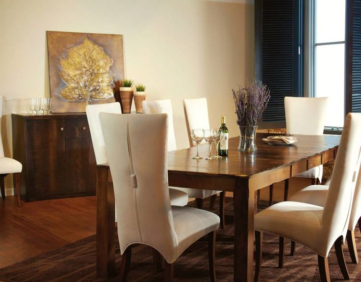 High Quality Bermex Distressed Birch Table With High Back Parsons Chairs