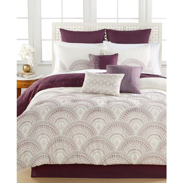 reese plum 10piece queen comforter set 300 liked on polyvore featuring
