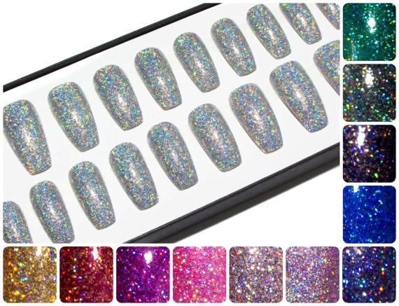 Coffin False Nails with Glitter - Gel Press On Nails