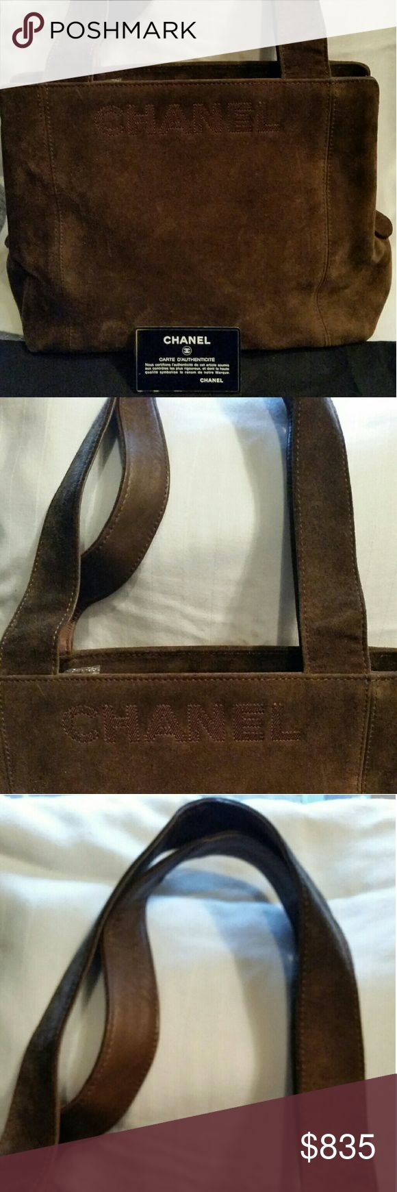 AUTHENTIC CHANEL CC SHOULDER BAG DARK BROWN SUEDE TOOK CARE OF THIS CHANEL BAG AUTHENTICITY GUARRNTEED   VERY GOOD CONDITION   COMPLETE WITH DUST COVER AND AUTHENTICITY CARD WHICH MATCHES  THE HOLOGRAM STICKER  NUMBER 4952197   W 11.4 X H 9.1 X D 3.9 INCHES  .SHOULDER DROP 9.1   COLOR . DARK BROWN / SUEDE  LEATHER .  INSIDE VERY GOOD  CONDITION. ALL POCKETS ARE VERY GOOD   EXTERIOR  SIGN OF OVERALL NORMAL USED . NO RIP OR TEARS   COMES WITH DUST BAG . AUTHENTICITY SEAL ..AUTHENTICITY CARD…