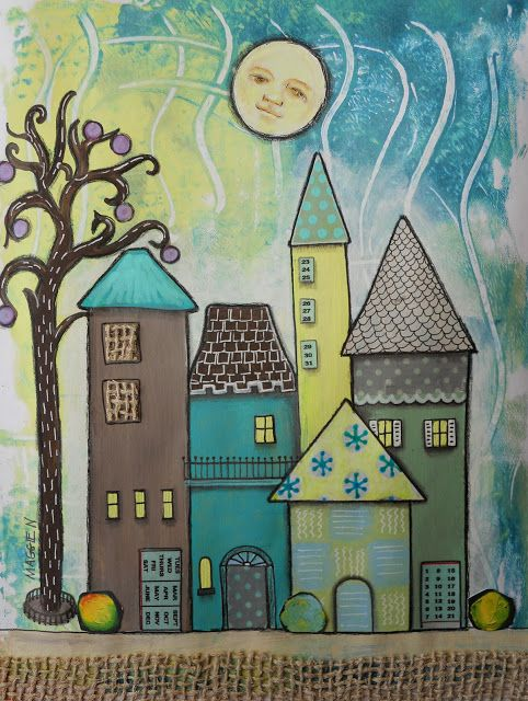 Love this whimsical print that started as a Gelli print. The Fanciful Magpie: Houses tucked in tight