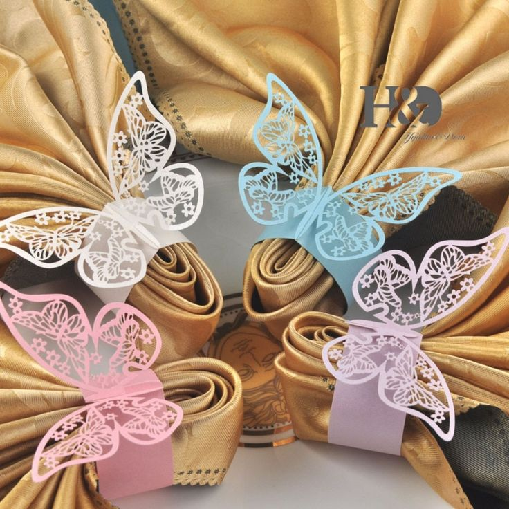 Laser Cut Paper Butterfly Napkin Rings Wedding Party Table Decoration Various Colors-24 Pieces