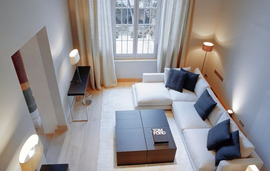 #FRANCE #PARIS #APARTMENT - ILE DE FRANCE  - Trocadero Suites - Simple but extremely modern living room with corner sofa - TV - dishwasher - oven - 56 persons - 25 bedrooms