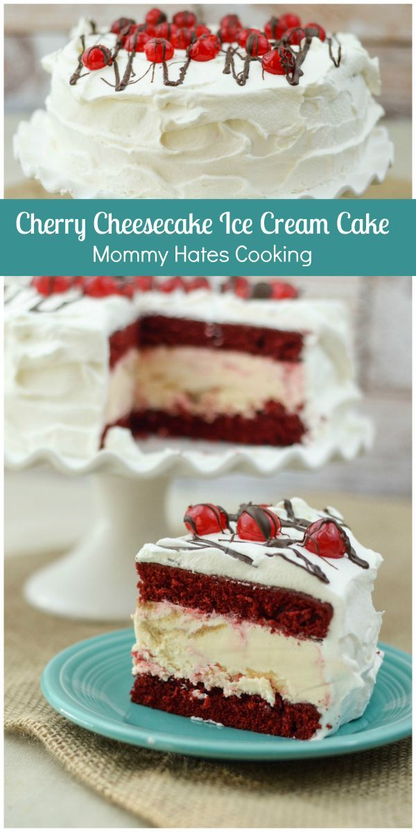 Cherry Cheesecake Ice Cream Cake - This cake is simple to make with a box cake mix and Blue Bunny Ice Cream. It will stun all your friends! #SoHoppinGood #ad