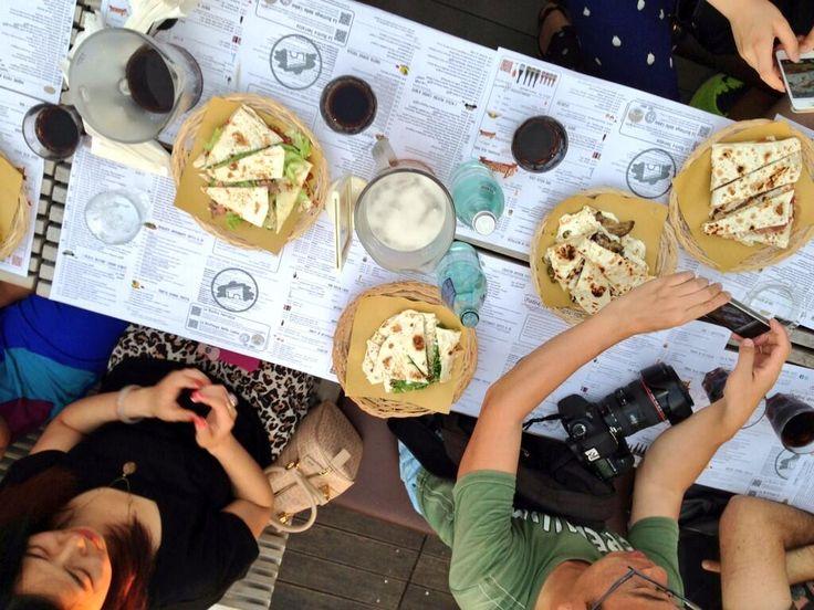 "Twitter / BlogVilleEmRom: #riministreetfood we start with the #piadina tasting!! ;) buon appetito from ""Casina del Bosco"" #Rimini"