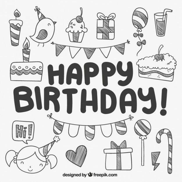 Free vector Hand drawn cute birthday elements #10054