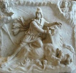 Mithra is shown slaying a bull.in a  2nd-3rd century Mithraic altarpiece found near Fiano Romano, near Rome, and now in the Louvre.