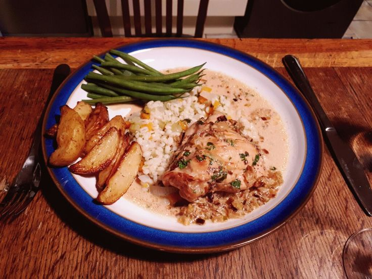 Ramadan iftar: super fast creamy Dijon chicken with barley, green beans and cheeky potato wedges to satisfy all the naughty cravings.