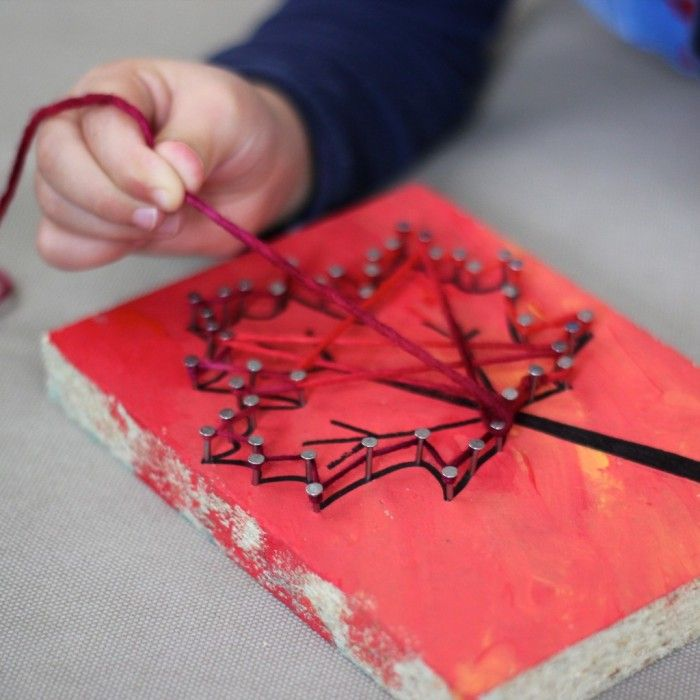 Autumn Yarn & Nail Art: a Tutorial for Little Ones and Grown Ups - includes a free leaf printable!
