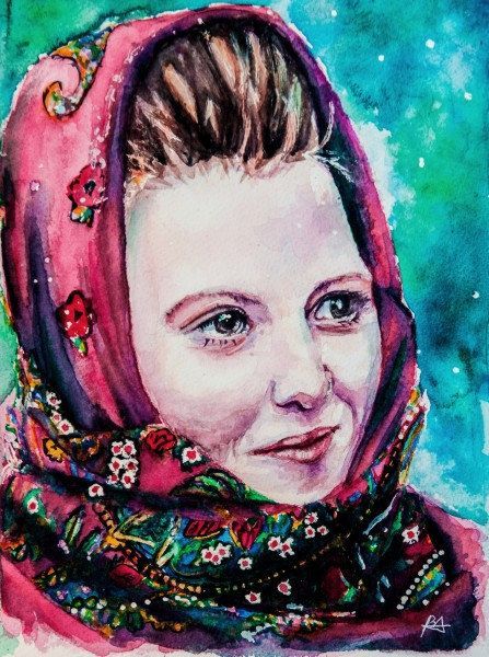 Bucovina girl - original watercolor painting. Portrait, girl, Bucovina, scarf, flowers, red, green, traditional, Romania, rural. by BarbuAlexandruArt on Etsy https://www.etsy.com/listing/223503022/bucovina-girl-original-watercolor