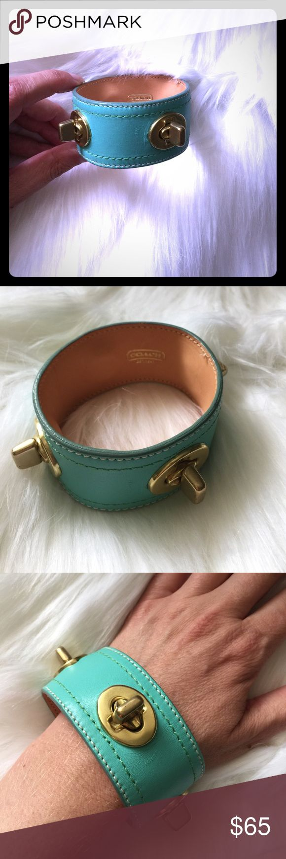 Coach turnlock leather bracelet BNWOT, gorgeous mint green leather Coach bracelet with gold turnlocks. Comes with dustbag. Coach Jewelry Bracelets